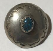 Vintage Navajo Indian Silver Spiderweb Turquoise Button
