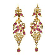 14k Yellow Gold Ruby And Seed Pearl Dangle Earrings 2.16 Carats