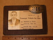 1939 Baltimore Maryland Authorized Chauffeur Taxi Patrol Id Badge And Card Police