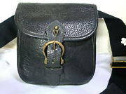 Vintage Mulberry England Small Black Leather Saddle Camera Shoulder Sling Bag