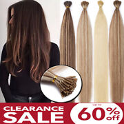 1g 200s I Tip Stick Pre-bonded Keratin Remy Human Hair Extensions Micro Beads Hg