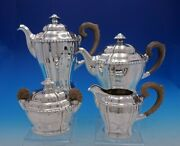 German .800 Silver Arts And Crafts Tea Set 4pc Hammered W/wood Beaded Edge 4551