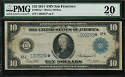 1914 10 Federal Reserve Note San Francisco Fr-951a - Star Note - Pmg 20 Vf