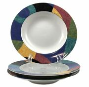 3 Mikasa Currents Of California M5101 Rimmed Soup Bowls 8 5/8