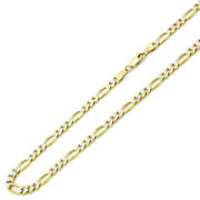 Men Women 14k Yellow Gold Chain 5.5mm Concaved White Pave Figaro Chain Necklace