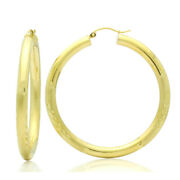 Women 14k Yellow Gold 3mm Satin Accents Round Tube Hollow Hoop Earrings