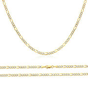 Men Women 14k Two Tone Gold Chain 4mm White Pave Figaro Chain Necklace