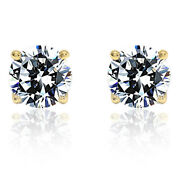 1 Carat Diamond Solid 14k Gold 5.1mm Round Brilliant Solitaire Stud Earrings