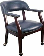 Flash Furniture Navy Vinyl Conference Chair With Accent Nail Trim And Casters New