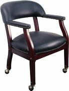Flash Furniture Black Vinyl Conference Chair With Accent Nail Trim And Casters New