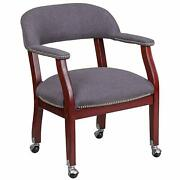 Flash Furniture Gray Fabric Conference Chair With Accent Nail Trim And Casters New