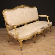 Sofa Couch Furniture In Gilt Wood Fabric Living Room Antique Style Louis Xv