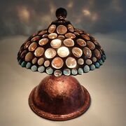Stained Glass Table Lamp - Light Peach And Light Blue Glass Jewels