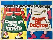 Carry On Up The Khyber And Carry On Doctor Double Bill Original Quad Poster 1968