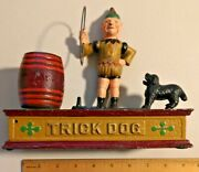 Vintage Hubley Trick Dog And Clown Cast Iron Mechanical Bank From Taiwan