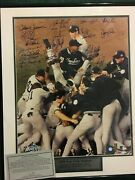 1998 New York Yankees World Series 16x20 Framed 20 Signatures All Aol-10s