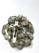 † Antique Xl Hand Cut Cross Mother Of Pearl Rosary 32 1/2 And Sterling Pendant †
