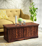 Antique Stunning Solid Teak Wood Trunk Box Coffee Table Home Restraunt Decor