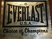Everlast Boxing Banner 30x26 Autographed By 25 World Champions Incfrazier Etc.