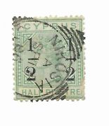 Cyprus 1886 1/2 On 1/2 Piastre Green Used Crown Cc