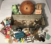 Vintage Junk Drawer Lot World Coins Football Cards Mickey Metal Lunch Box 925