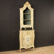 Corner Cupboard Cabinet Furniture Vitrine Lacquered Painted Wood Antique Style