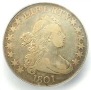 1801 Draped Bust Half Dollar 50c Coin - Certified Icg Vf30 - 4,120 Value