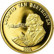 [754543] France Medal Beethoven Arts And Culture 2001 Proof Ms Gold