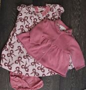 Janie And Jack Layette Pink Floral Bow Cord. Dress With Sweater 3-6 Months