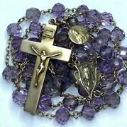 † Antique Marked 18k Yellow Gold Medal And 10k Gold And Purple Rosary Necklace 28 †