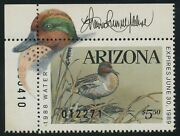 Arizona 2 State Duck 1988 Remarque And Artist Signed Xf+ Og Nh Very Rare Bv1811