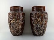 A Pair Of Large Longchamp Majolica Vases In Reddish Brown Glaze. 1920and039s