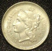 1866 Three Cent Nickel Piece Usa 3c Trime Obsolete Coin For Postage Stamps