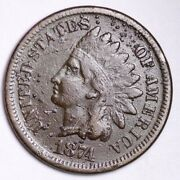 1874 Indian Head Small Cent Choice Fine Free Shipping E116 Wcc
