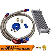 13 Row Thermostat Adaptor Engine Racing Oil Cooler Kit For Car/truck Silver New