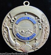1940 Westchester County Swimming Meet Medal Medallion Ornate Dauphin Koi Fish