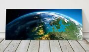 Earh Detailed Picture From Space United Kingdom Panoramic Canvas Print Framed