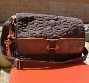 Fossil Large Key Per Quilted Messenger Laptop Baby Crossbody Bag W/ Leather Trim