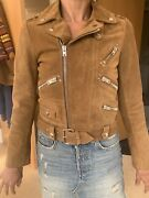 The Kooples Tan Leather Jacket. Xs6-8 Silver Skulls And Zips. Pristine Cond.