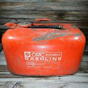 Vintage Old 6 Gallon Gas Oil Fuel Petrol Tank Can Omc Metal Rustic Outboard