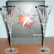 Waterford Lismore Pops Clear Crystal Toasting Champagne Flute Pair 40023071 New