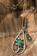 Beautiful Native American Zuni Sterling 925 Petit Point Turquoise Necklace Charm