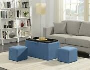 Soft Blue Fabric Storage Bench 2 Side Ottomans Set Seating Tray Coffee Table