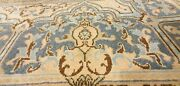 Antique 1930-1940and039s Distressed Wool Pile Muted Natural Dye Oushak Rug 9x13ft