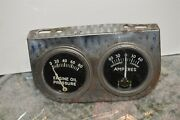 Art Deco 1930and039s-60and039s Chrome Dash Ampere And Oil Gauge Panel Rat Rod Hot Rod