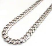 Mens Womens Cuban Curb Link Necklace Chain 14k White Gold 16 - 30