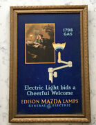 Antique Edison Mazda Lamps Cardboard Advertising Sign General Electric 1798 Gas