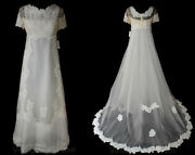 Size 8 Wedding Gown - Antique Style 1960s Net Bridal Gown With Lace And Tucks Moti