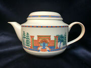 Villeroy And Boch Via Appia Teapot 33 Oz Roma Building Trees Blue And Orange Band