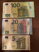 European Union 5 + 20 + 100 Euro Banknotes. 125 Euros Total. 3 Cir Eu Notes. H